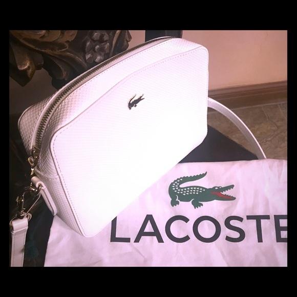 e98e7ba3d16c Lacoste Handbags - LACOSTE CHANTACO PIQUÉ LEATHER SQUARE CROSSOVER